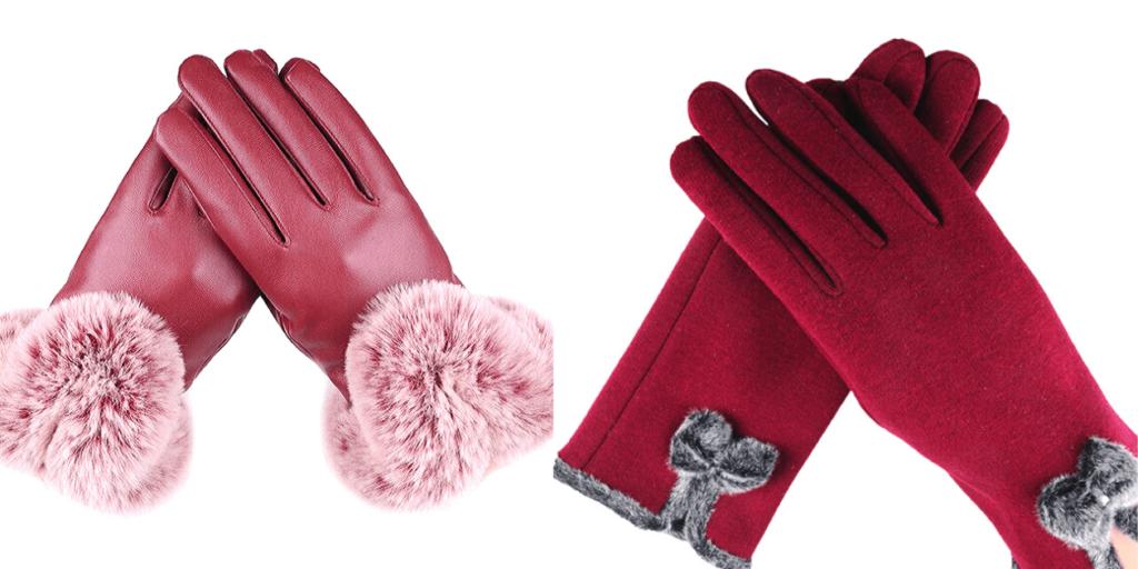 Зимние женские перчатки изготавливаются из кожи, замши, велюра.