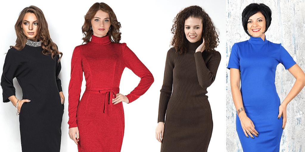 Модные платья осени-зима 2019-2020 с воротником-стойкой