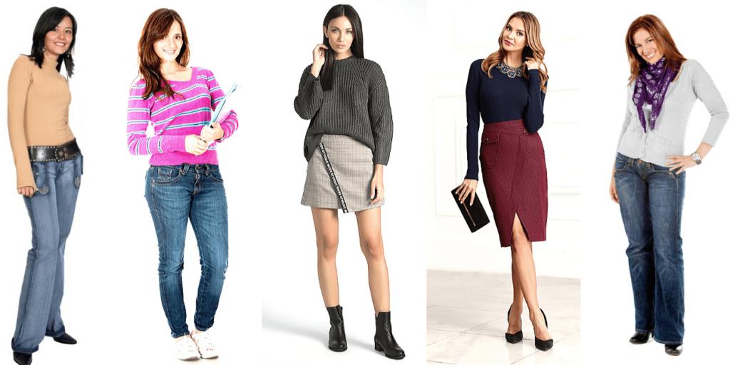 Разнообразие моделей свитеров и джемперов позволяет создавать современные луки