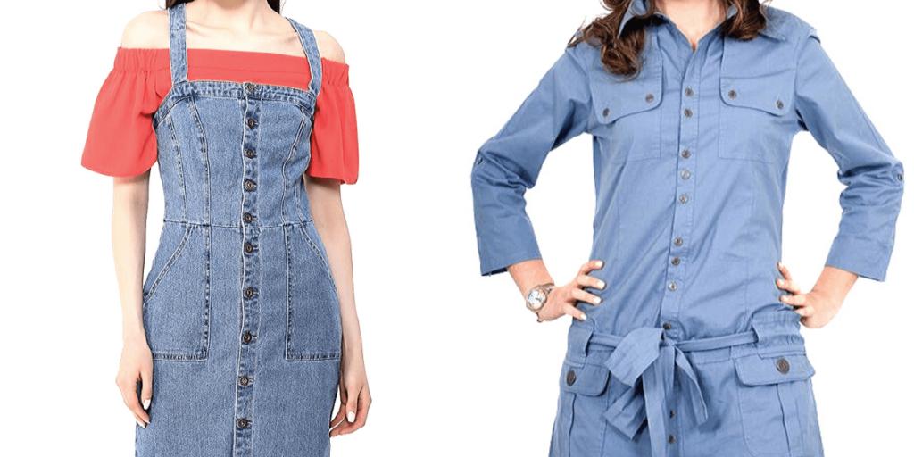 Модные джинсовые платья осень-зима 2019-2020 разных фасонов
