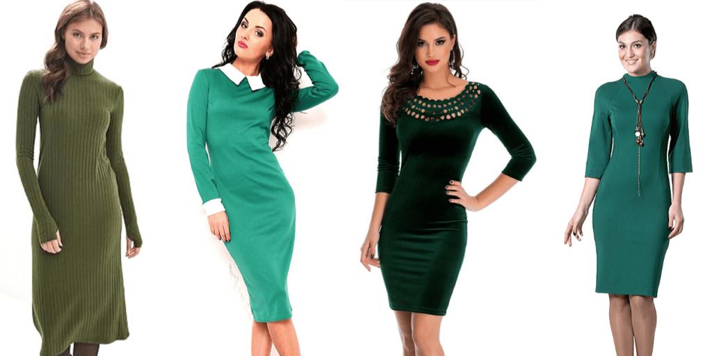 Фото четырех платье различных оттенков зеленого цвета, стильные модели