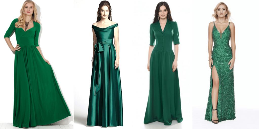 Зеленые платья в пол из разных тканей смотрятся стильно и эффектно