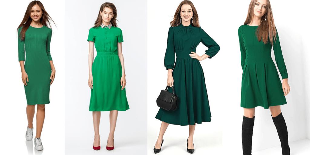 Повседневные платья зеленого цвета можно носить с разной обувью, подойдут и кроссовки, и туфельки-лодочки, и ботфорты
