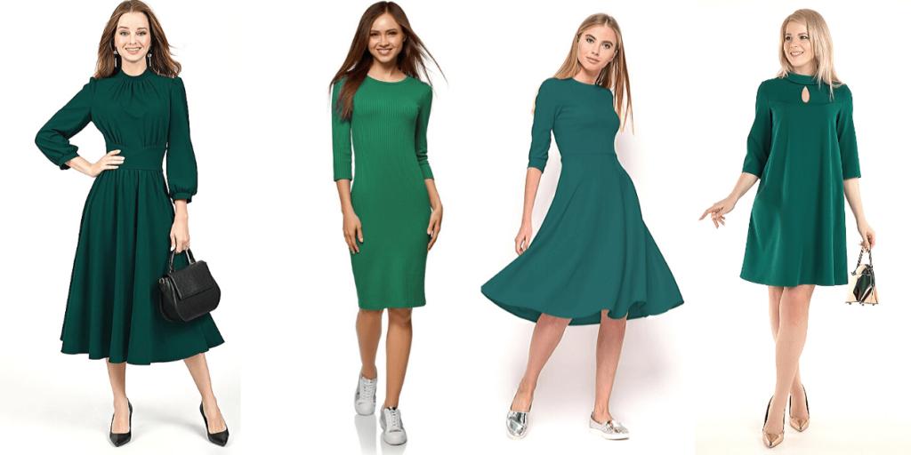 Мода 2020 : зеленые платья разных фасонов