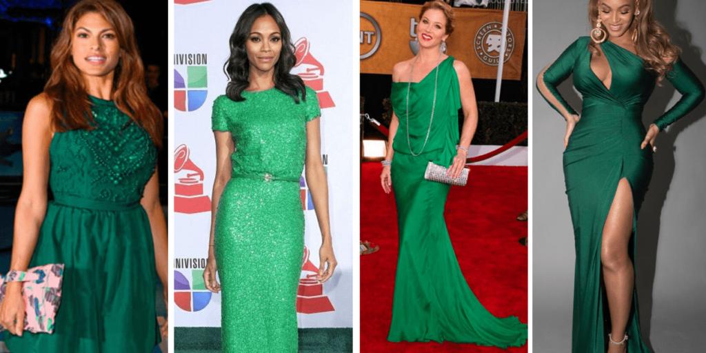 Звезды в шикарных вечерних платьях зеленого цвета