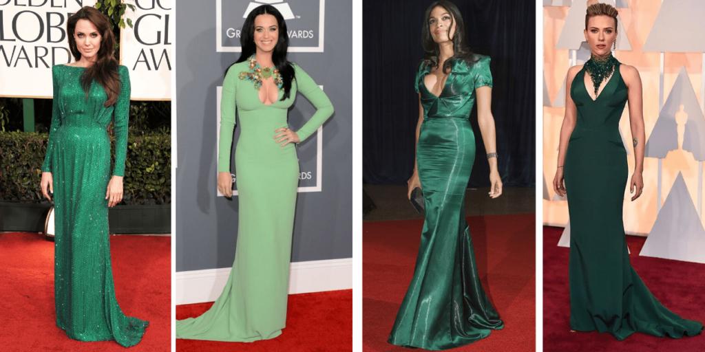 Эффектно и стильно выглядят звезды в платьях зеленого цвета на красной ковровой дорожке