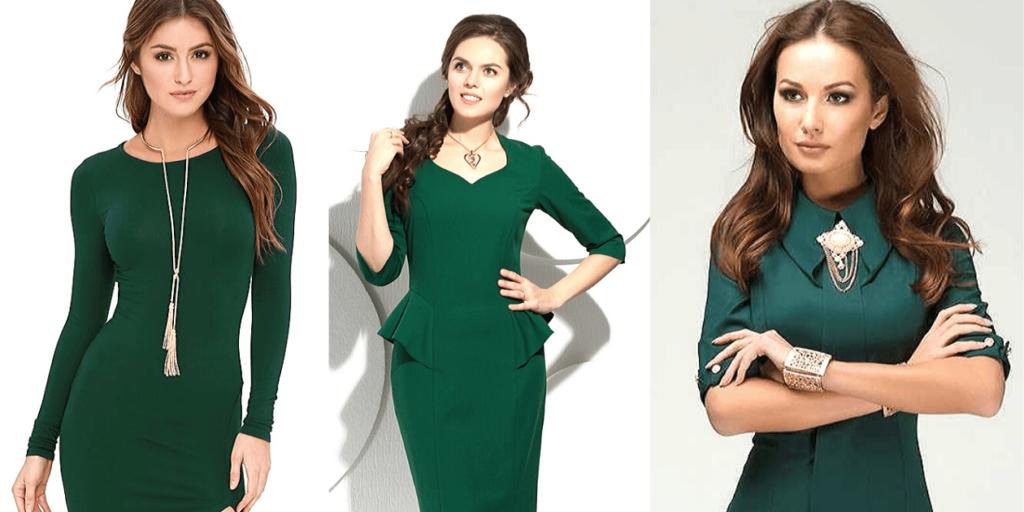 Зеленое платье, подбор украшений золотистого цвета к платью зеленого цвета