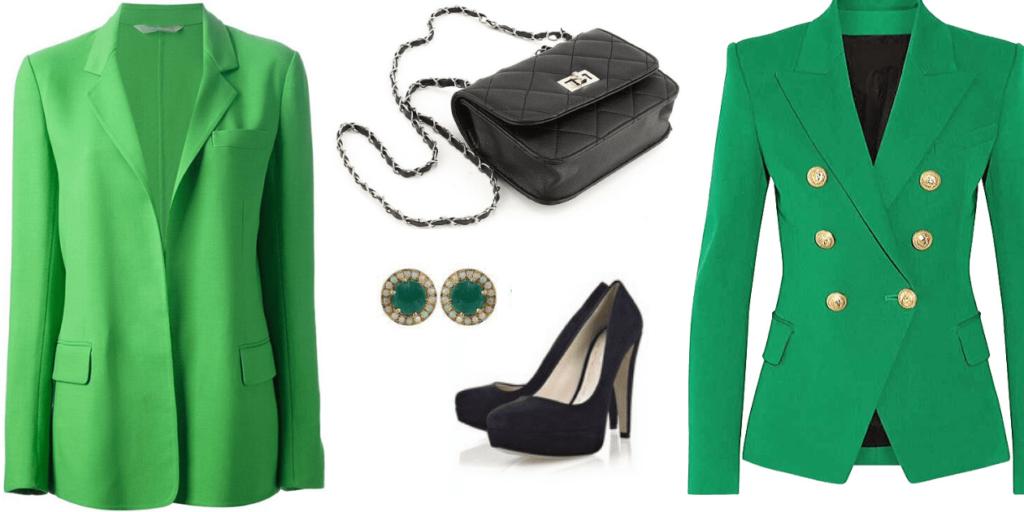 Жакеты, блейзеры, аксессуары к зеленому платью