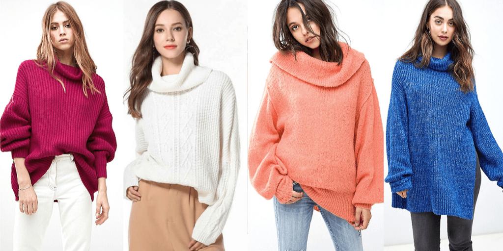 Современный свитер в стиле оверсайз модных цветов сезона 2019-2020, фото