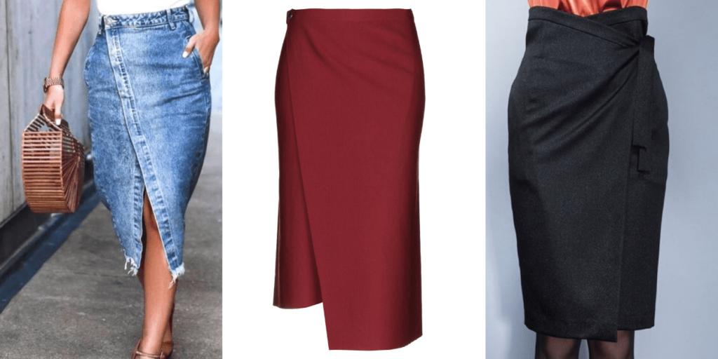 Модные юбки с запахом из различных материалов