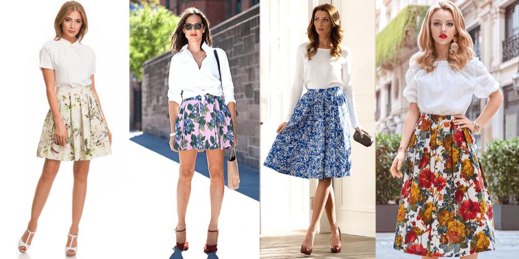 Белые блузы с юбками в цветочек создают нежный романтический образ