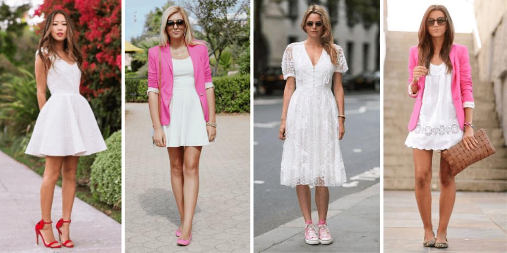 Модные луки с белым платьем-2020 и разными видами обуви, фото