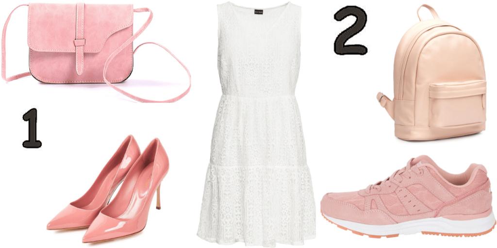 Варианты создания образов с белым платьем: с туфлями-лодочками и с кроссовками