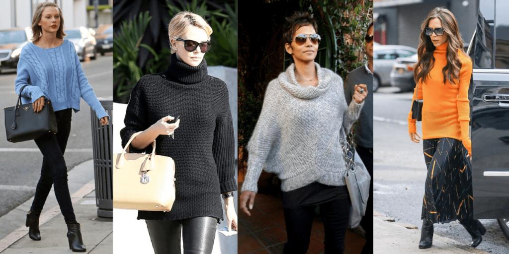 """С чем носить свитер-оверсайз. Фото """"звезд"""". Свитеры -эффектная часть модных луков знаменитостей."""