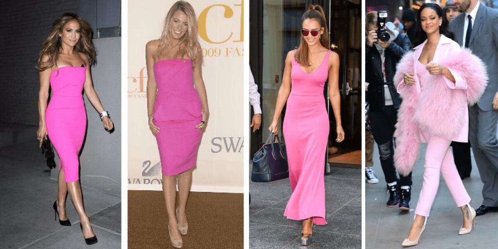 Фото знаменитостей в платьях розового цвета , эффектные модные луки