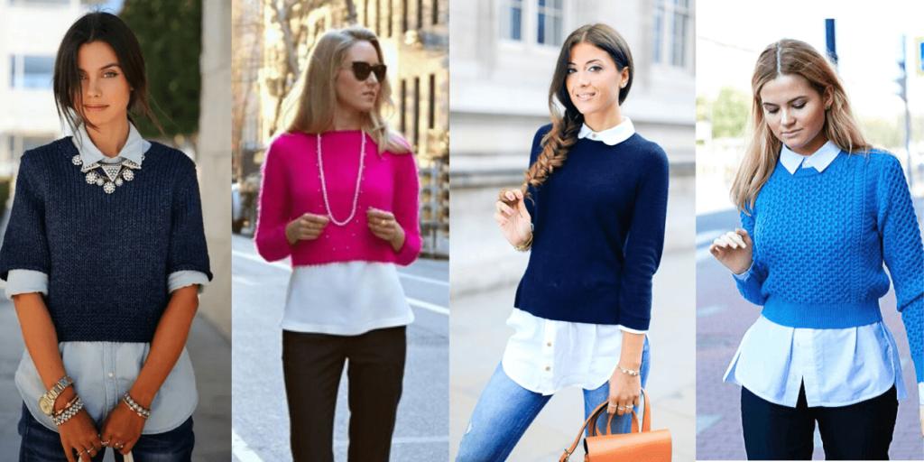 стильный образ с кроп-свитером и рубашкой