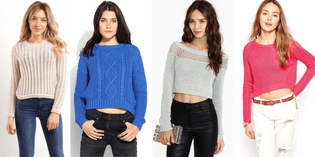 """Укороченные свитеры или кроп-свитеры, что в переводе с английского означат """"отрезанные"""""""