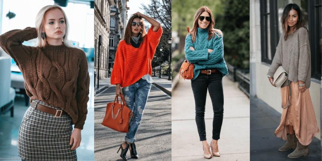 Мода 2020: стильные луки со свитером оверсайз