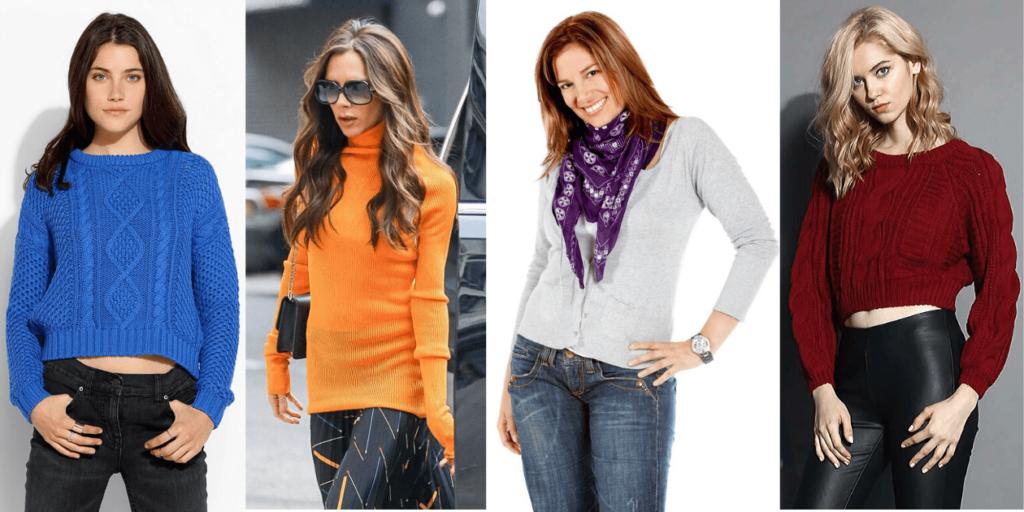 В тренде цвета женских свитеров: синий, желтый, оранжевый, винный, серый и классические черный и белый