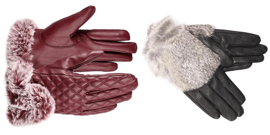 Стильные модные перчатки с меховой отделкой