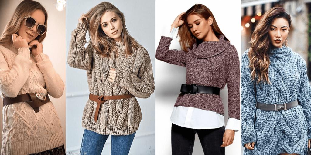 Трендом сезона являются фактурные свитера, которые можно носить с кожаным ремнем, что подчеркивает талию.