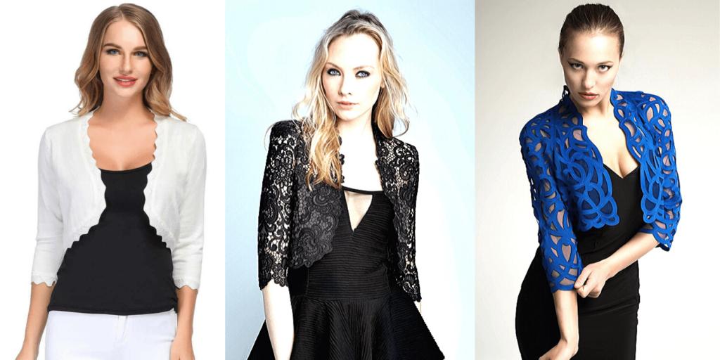 Кружевные и гипюровые болеро придают платью нарядный вид, преображая даже простое повседневное платье в эффектный наряд