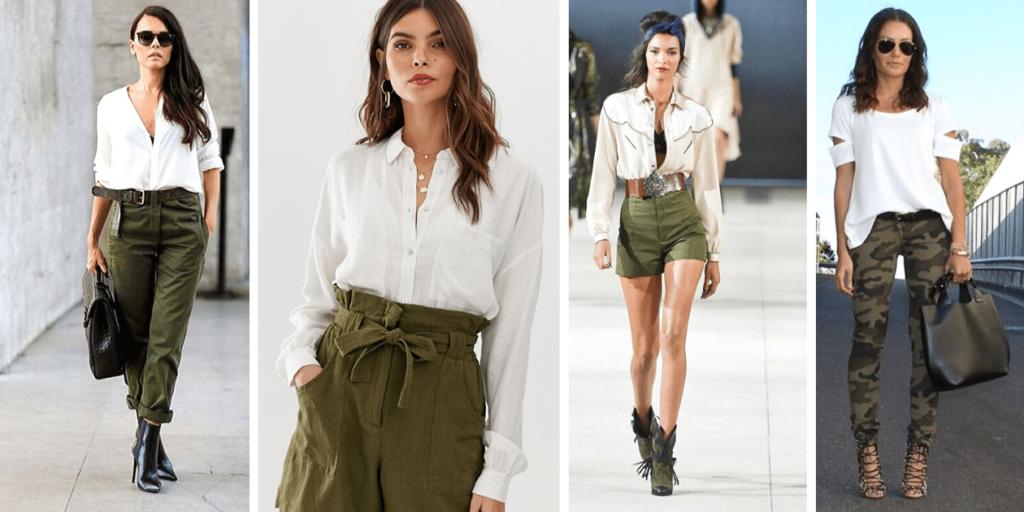 Белые рубашки эффектно сочетаются с брюками и шортами в стиле милитари