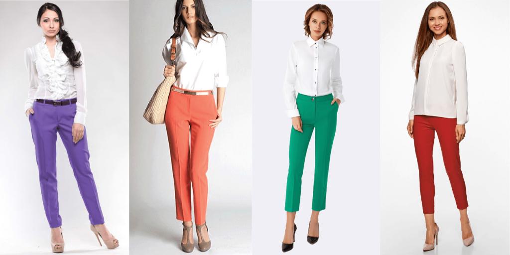 Модные белые рубашки и блузки 2020 в сочетании с цветными брюками