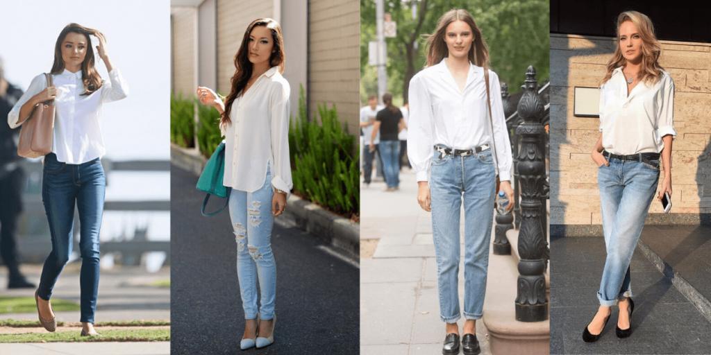 Белая рубашка 2020 прекрасно сочетается с джинсами разного кроя