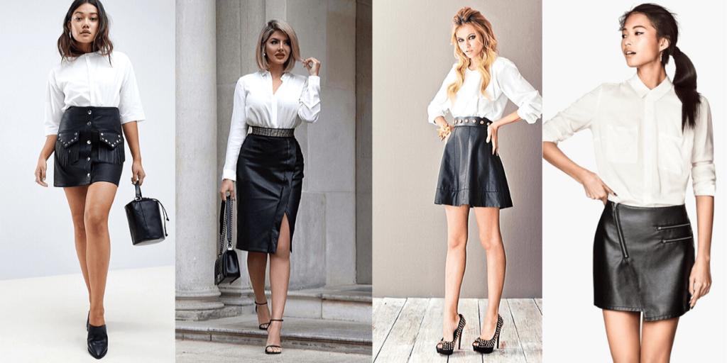 Стильные образы с белой рубашкой 2020 и кожаными юбками разных фасонов