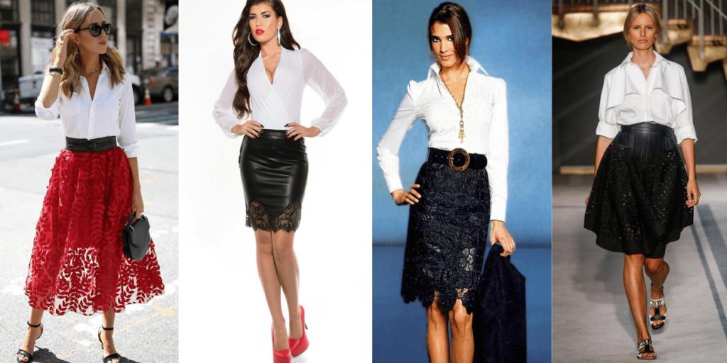 Стильные образы из белых рубашек и кружевных юбок различных фасонов