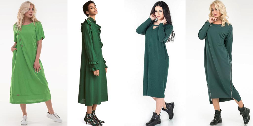 Стильные зеленые платья оверсайз в тренде в 2020 году