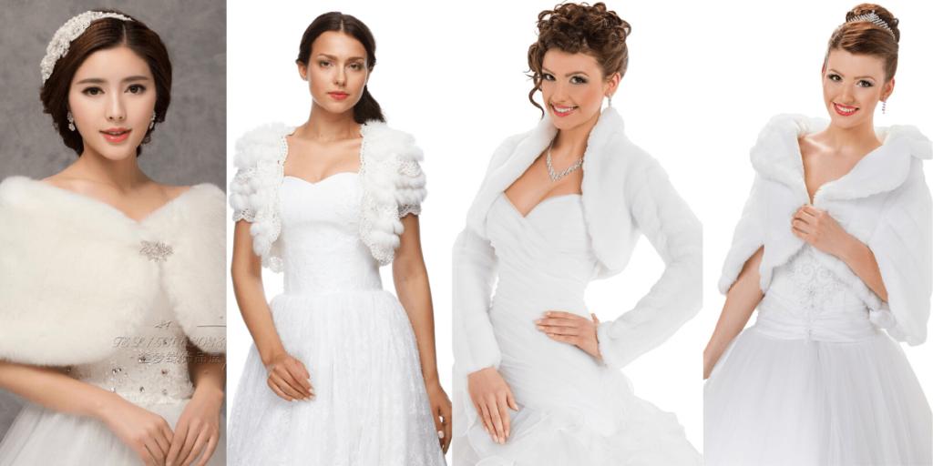 Фото (4) стильных луков свадебных платьев с меховым болеро