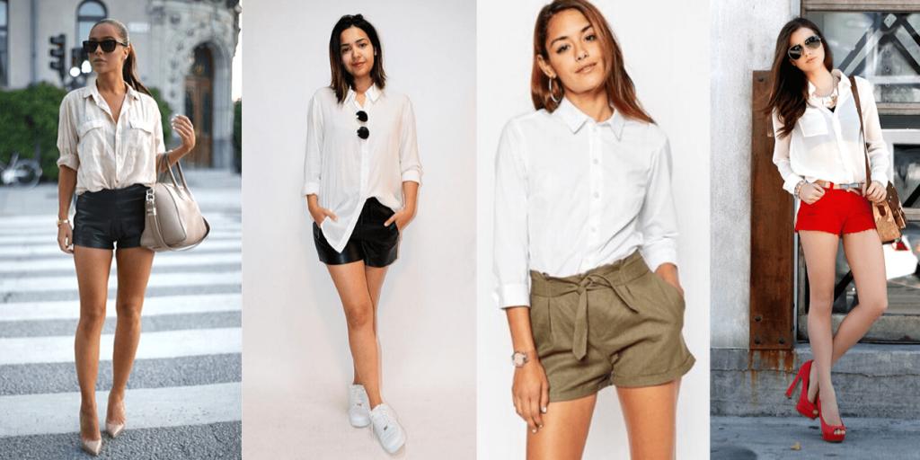 Образы с белой рубашкой и короткими шортами подходят только стройным девушкам