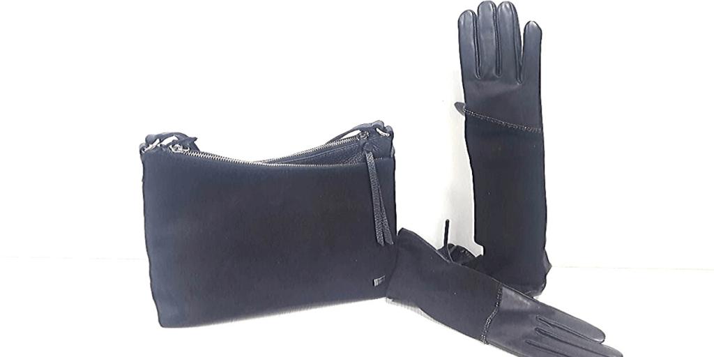 Перчатки из кожи и замши, украшенные элегантным декоративным элементом, смотрятся стильно и эффектно.