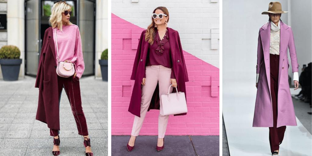 Фото 3 модны луков с бордово-розовым сочетанием