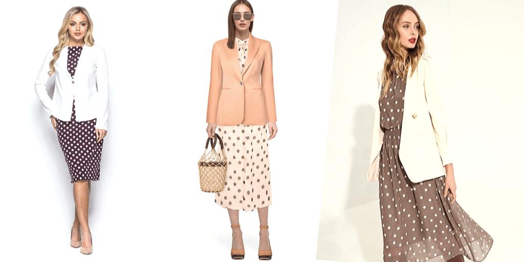 Для работы в офисе в летний период прекрасно подходят платья в горошек в сочетании с однотонными жакетами