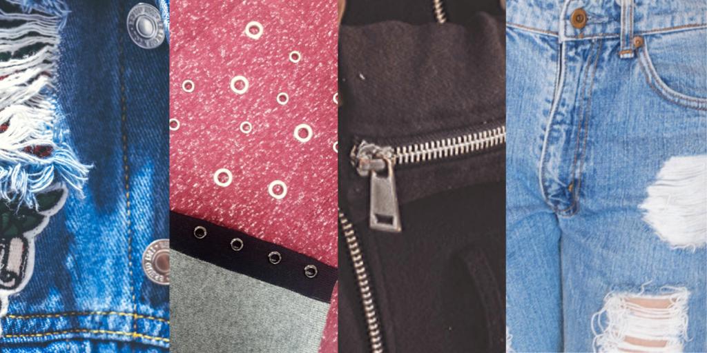 Металлические пуговицы и кнопки, молнии, нашивки служат украшениями одежды в спортивном стиле