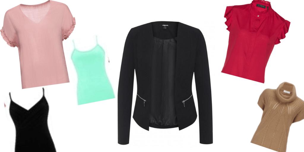 Представленные модели блузок с коротким рукавом можно носить под жакетом