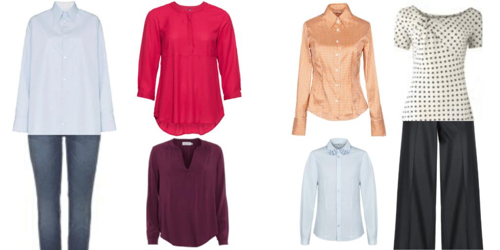 Фото приталенных блуз к широким брюкам и свободных- к узким.