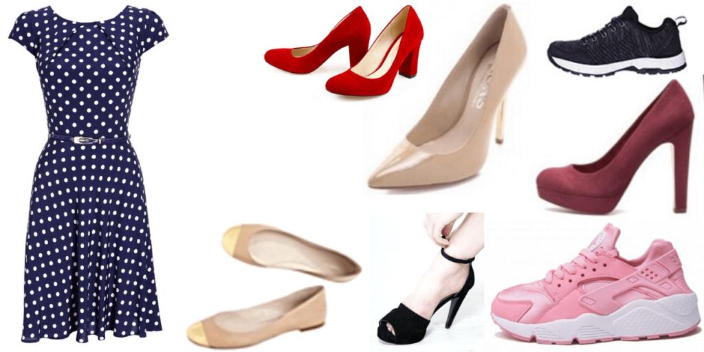 Платье в горошек можно носить с туфлями, балетками, кедами и кроссовками